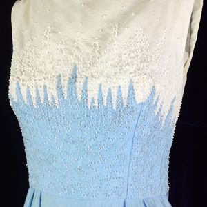 50s  Blue White Sheath Pencil Dress Cocktail Pool